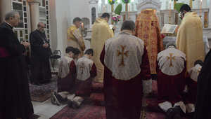جانب من القداس الذي أقيم في دمشق