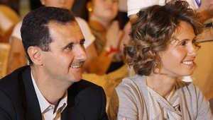 صورة ارشيفية للأسد وعقيلته