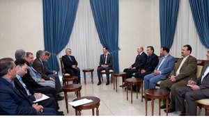 بشار الأسد وعلي مملوك وعلاء الدين بروجردي