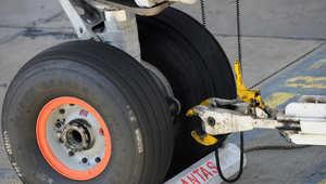 عجلات الطائرة ليست مكانا مناسبا للسفر في حضنها