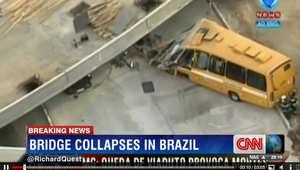 حافلة تشهمت مقدمتها بسقوط الجسر عليها