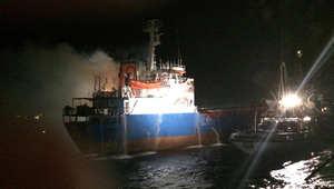 """بالصور.. حريق """"أم الخير"""" يستنفر قوات تأمين قناة السويس"""