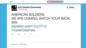 اختراق حسابات للقيادة المركزية بالجيش الأمريكي على يد متعاطفين مع داعش قاموا بنشر وثائق يظهر أن مصدرها البنتاغون