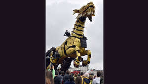 هكذا تحتفي الصين بعلاقاتها مع فرنسا.. تنين على شكل حصان