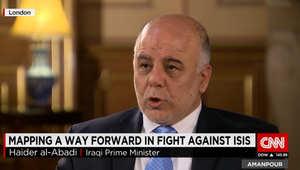 العبادي لـCNN: إخراج داعش من العراق قد يتطلب شهورا ولكن القضاء نهائيا عليه قد يستغرق وقتا طويلا
