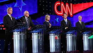جانب من المناظرة التي جمعت المرشحين الخمسة