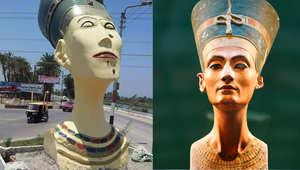 """""""نفرتيتي"""" في برلين الألمانية تتحول إلى """"فرج تيتي"""" في المنيا المصرية.. """"الجميلة وصلت"""""""