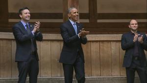 """بالفيديو: أوباما يحيي الذكرى الـ 400 لوفاة شيكسبير في مسرح """"غلوب"""" في لندن"""