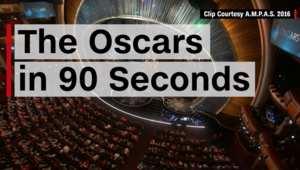 شاهد حفل جوائز الأوسكار 2016 في تسعين ثانية