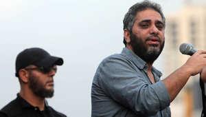 صورة أرشيفية لفضل شاكر خلال تجمع لأحمد الأسير في بيروت