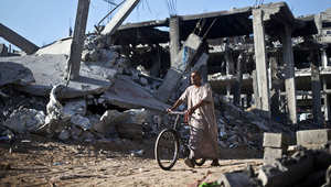 جانب من أثار الدمار في حي الشجاعية بغزة