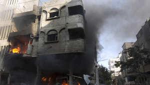 أحد المنازل المدمرة في غزة نتيجة القصف الإسرائيلي