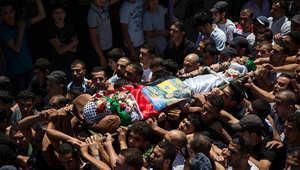مراسيم تشييع أحد ضحايا العمليات العسكرية في غزة الجمعة