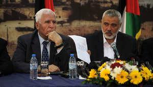 إسماعيل هنية وعزام الأحمد خلال اجتماعات سابقة بين حماس وفتح