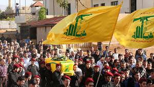صورة أرشيفية لجنازة أحد مقاتلي حزب الله الذي قتل في سوريا