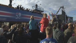شاهد.. آلاف الأيسلنديين يحتفون بمنتخبهم الوطني