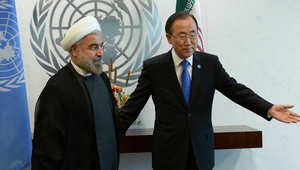 الرئيس الإيراني حسن روحاني في الأمم المتحدة مع أمينها العام بان كي مون