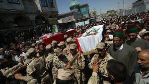 جنازة عدد من رجال الشرطة في سامراء، سقطوا خلال المواجهات مع داعش