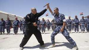 عناصر متطوعون في الشرطة العراقية أثناء التدريب