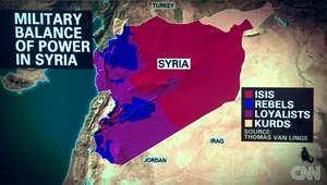 محلل يشرح لـCNN على الخريطة لماذا لن ينجح دعم أمريكا للثوار في سوريا ضد داعش.. علينا قبول الواقع والحل هو دولة سنية شمالا وعلوية جنوبا