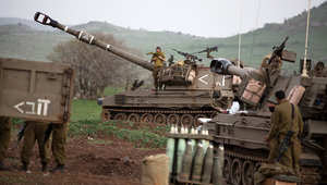 جانب من تجهيزات الجيش الإسرائيلي على جبهة الجولان