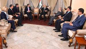 لقاء وزير الخارجية العراقي إبراهيم الجعفري والسفير الأمريكي في العراق