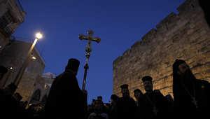 صورة أرشيفية للكنيسة الأرثوذكسية في القدس خلال إحدى الاحتفالات