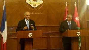 وزير الخارجية الفرنسي لوران فابيوس (يسار) مع نظيره الأردني ناصر جوده في عمان 21 يونيو/ حزيران 2015