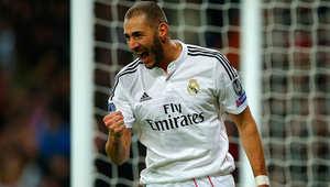 كريم بنزيمة، لاعب ريال مدريد، بعد تسجيله هدف الفوز لفريقه