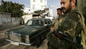 بعض العناصر الفلسطينية المسلحة في مخيم عين الحلوة بلبنان