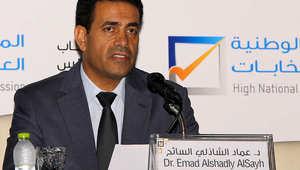 عماد السائح، رئيس المفوضية الليبية للانتخابات خلال مؤتمر صحفي سابق
