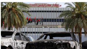 آثار الدمار الذي خلفه القتال حول مطار طرابلس الدولي الأسبوع الماضي