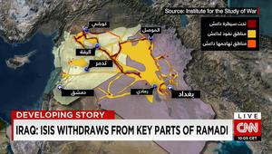 بعد سيطرة داعش على الرمادي والتقدم بتدمر.. خريطة توضح تبدلات الميدان بسوريا والعراق
