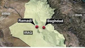 خريطة تبين موقع الرمادي في محافظة الانبار العراقي