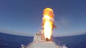 شاهد.. روسيا تقصف داعش في تدمر بصواريخ من المتوسط