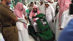 الشيخ عبدالرحمن السديس، الرئيس العام لشؤون المسجد الحرام خلال تدشينه العربات الكهربائية، مكة المكرمة 20 يونيو/ حزيران 2015