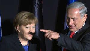 الصورة الأكثر إحراجاً: شنب هتلر على وجه ميركل بأصابع نتنياهو