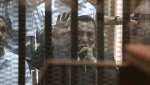 صورة التقطت اواخر الشهر الماضي لمبارك بالمحكمة