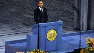 الرئيس الأمريكي باراك أوباما أثناء حفل تلقيه جائزة نوبل للسلام في أوسلو