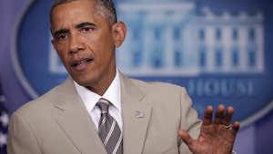الرئيس الأمريكي باراك أوباما خلال المؤتمر الصحفي