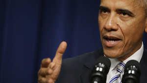 الرئيس الأمريكي باراك أوباما خلال إلقائه الكلمة