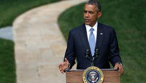 الرئيس الأمريكي باراك أوباما خلال المؤتمر الصحفي المقتضب