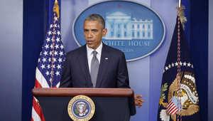 أوباما يتحدث في البيت الأبيض عن الطائرة الماليزية