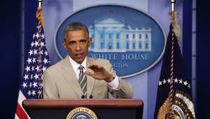 الرئيس الأمريكي خلال الموجز الصحفي