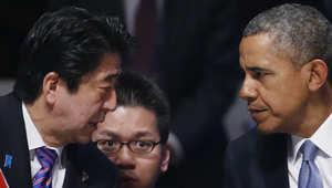 اوباما مع رئيس الوزراء الياباني شينزو آبي