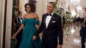 الرئيس الأمريكي باراك أوباما وزوجته ميشيل في احتفال سابق