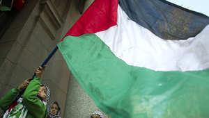 طفل يلوح بالعلم الفلسطيني في إحدى المظاهرات المؤيدة للفلسطينيين