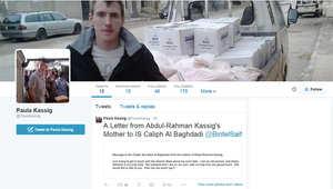 الرسالة الموجهة لأبي بكر البغدادي كما ظهرت على حساب بولا كاسيغ عبر تويتر