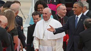 بابا الفاتيكان يصل واشنطن بأول زيارة للولايات المتحدة