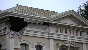 جانب من الدمار الذي خلفه زلزال الأحد